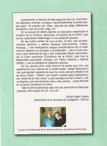 Contraportada del libro, escrita por Ginés Pagán.