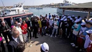 El Papa Francisco, en Lampedusa, en octubre de 2014, durante su primer viaje fuera de Roma.