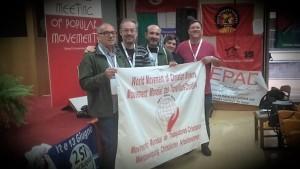 Manolo Díaz, de Córdoba; Abraham Canales, director de Noticias Obreras; manolo copé y Charo Castelló, del MMTC, junto a Joaquón Sánchez, la representación de la HOAC en el EMMP.